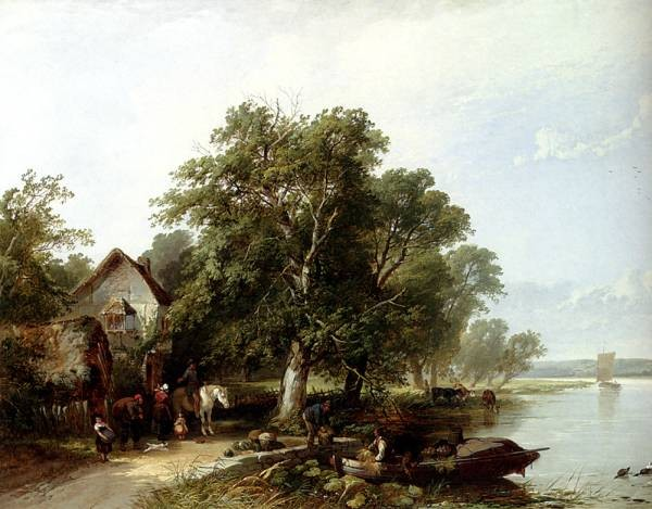 River Landscape With Figures Loading A Boat